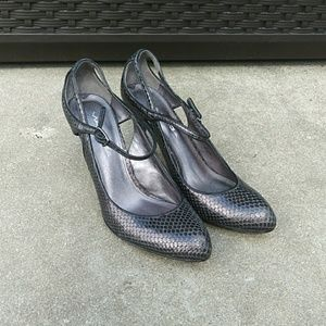 Via Spiga dark gray snake embossed leather heels